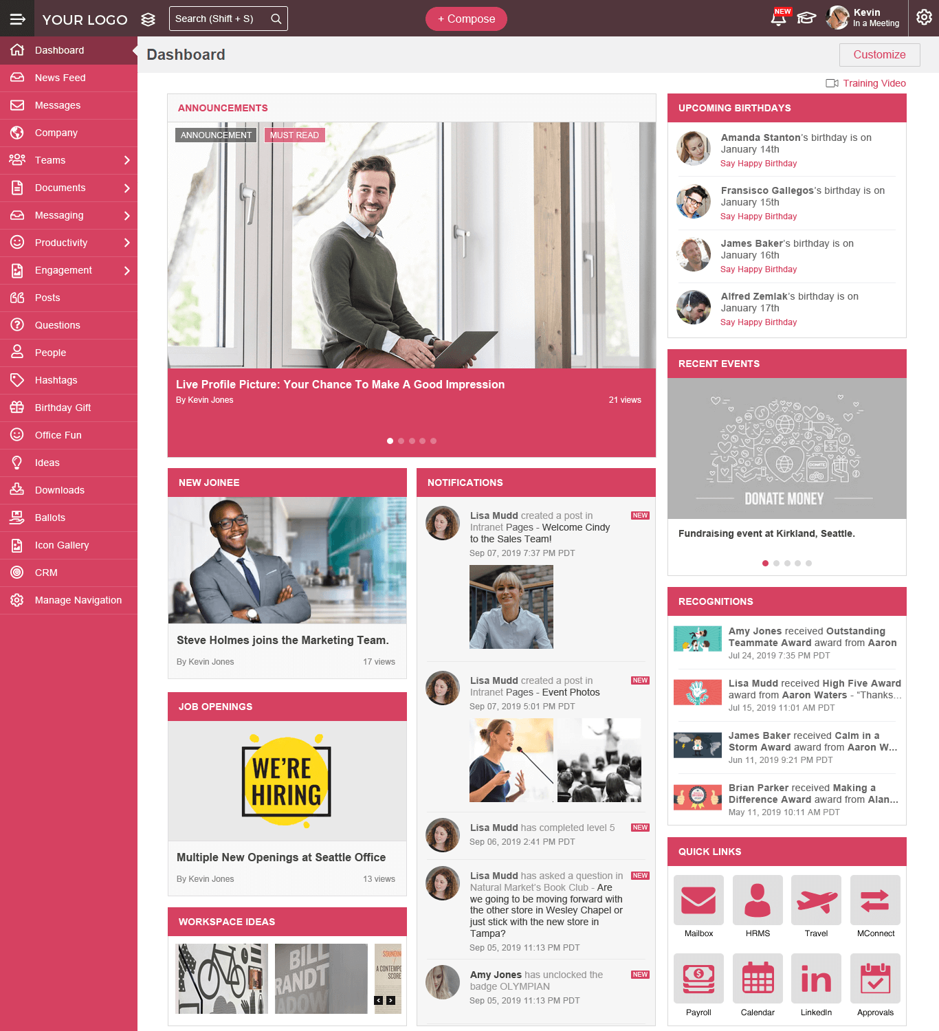 MangoApps - Your Company Branded Intranet Design Samples