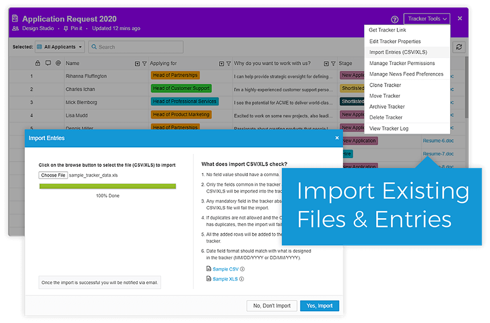 Import From Excel, Google Sheets, or CSV